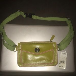 Wilson's Leather Green and pink fanny pack.